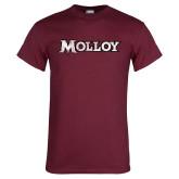 Maroon T Shirt-Molloy Wordmark Distressed