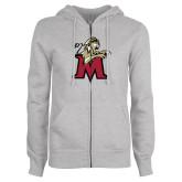 ENZA Ladies Grey Fleece Full Zip Hoodie-Lion with M