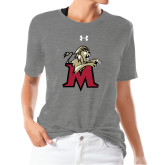 Ladies Under Armour Heather Grey Triblend Tee-Lion with M
