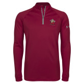 Under Armour Maroon Tech 1/4 Zip Performance Shirt-Lion with M