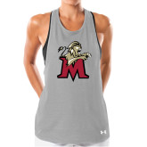 Ladies Under Armour Grey Pinhole Tank-Lion with M