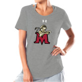 Ladies Under Armour Grey Charged Cotton Tee-Lion with M