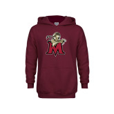 Youth Maroon Fleece Hoodie-Lion with M