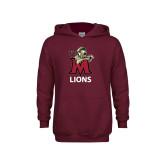 Youth Maroon Fleece Hoodie-Lions