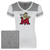 Ladies White/Heathered Grey Juniors Varsity V Neck Tee-Lion with M