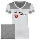 Ladies White/Heathered Grey Juniors Varsity V Neck Tee-Institutional Logo