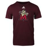 Adidas Maroon Logo T Shirt-Lion with M