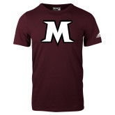 Adidas Maroon Logo T Shirt-M