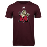 Adidas Climalite Maroon Ultimate Performance Tee-Lion with M