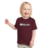 Toddler Maroon T Shirt-Molloy Wordmark