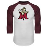 White/Maroon Raglan Baseball T Shirt-Lion with M