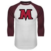 White/Maroon Raglan Baseball T Shirt-M