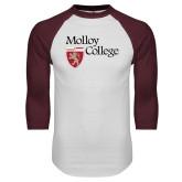 White/Maroon Raglan Baseball T Shirt-Institutional Logo
