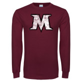 Maroon Long Sleeve T Shirt-M Distressed