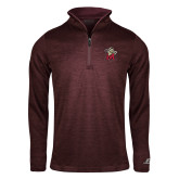 Russell Maroon Heather 1/4 Zip-Lion with M