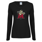 Ladies Black Long Sleeve V Neck Tee-Lion with M