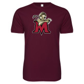 Next Level SoftStyle Maroon T Shirt-Lion with M