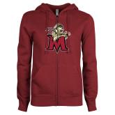 ENZA Ladies Maroon Fleece Full Zip Hoodie-Lion with M