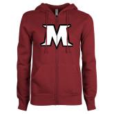 ENZA Ladies Maroon Fleece Full Zip Hoodie-M