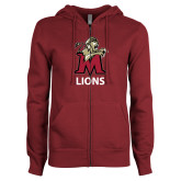 ENZA Ladies Maroon Fleece Full Zip Hoodie-Lions