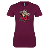 Next Level Ladies SoftStyle Junior Fitted Maroon Tee-Lion with M