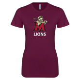 Next Level Ladies SoftStyle Junior Fitted Maroon Tee-Lions
