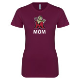 Next Level Ladies SoftStyle Junior Fitted Maroon Tee-Mom