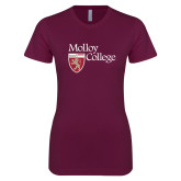 Next Level Ladies SoftStyle Junior Fitted Maroon Tee-Institutional Logo