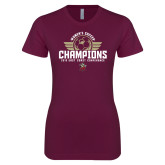 Next Level Ladies SoftStyle Junior Fitted Maroon Tee-2019 Womens Soccer Champs
