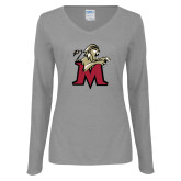Ladies Grey Long Sleeve V Neck Tee-Lion with M