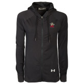 Ladies Under Armour Black Varsity Full Zip Hoodie-Lion with M