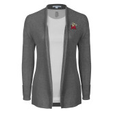 Ladies Heather Grey Open Front Cardigan-Lion with M