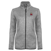 Grey Heather Ladies Fleece Jacket-Lion with M