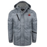 Grey Brushstroke Print Insulated Jacket-Lion with M