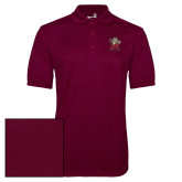 Maroon Dry Mesh Polo-Lion with M