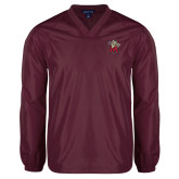 V Neck Maroon Raglan Windshirt-Lion with M