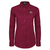 Ladies Maroon Twill Button Down Long Sleeve-Lion with M