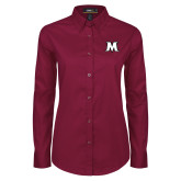 Ladies Maroon Twill Button Down Long Sleeve-M