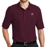Maroon Easycare Pique Polo-Lion with M