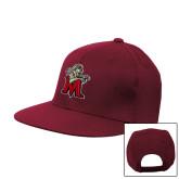 Maroon Flat Bill Snapback Hat-Lion with M