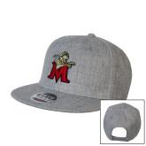 Heather Grey Wool Blend Flat Bill Snapback Hat-Lion with M