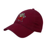 Maroon Twill Unstructured Low Profile Hat-Lion with M