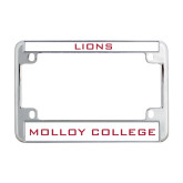 Metal Motorcycle License Plate Frame in Chrome-Lions