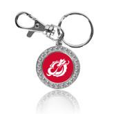 Crystal Studded Round Key Chain-Dragon Mark