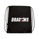 Black Drawstring Backpack-Dragons