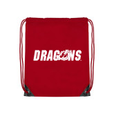 Red Drawstring Backpack-Dragons