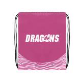 Nylon Zebra Pink/White Patterned Drawstring Backpack-Dragons