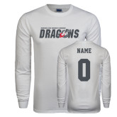 White Long Sleeve T Shirt-Official Logo, Custom Tee w/ Name and #