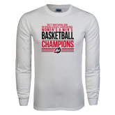 White Long Sleeve T Shirt-2017 Northern Sun Intercollegiate Conference Men and Women Champions