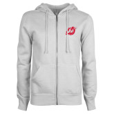 ENZA Ladies White Fleece Full Zip Hoodie-Dragons